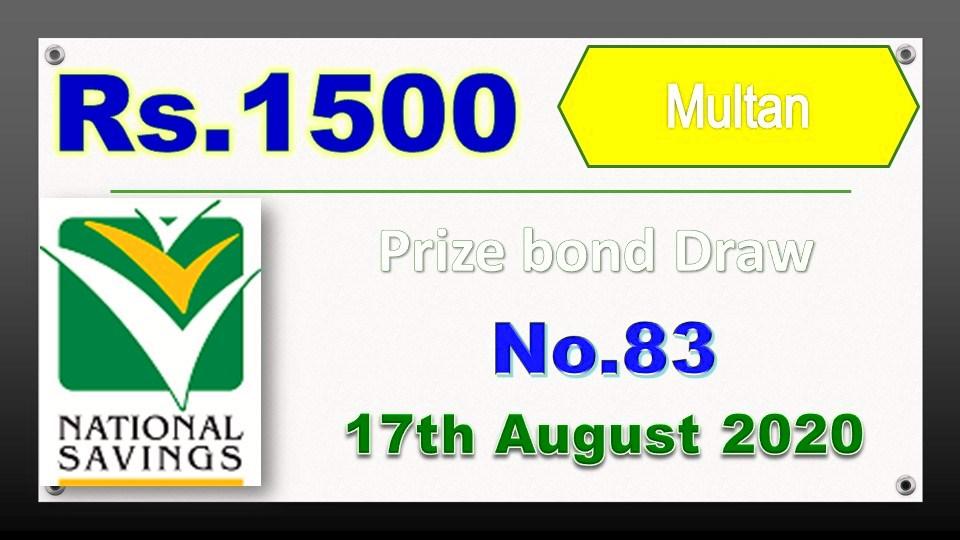 Prize bond 1500 Draw Result List 17th August 2020 Multan Check online