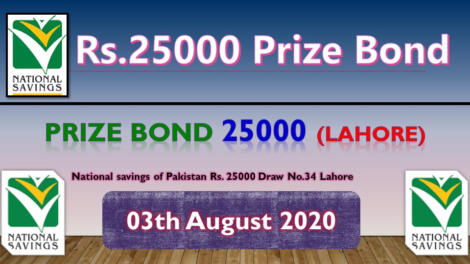 Prize Bond Rs. 25000 Draw #34 Full List Result 03 August 2020 Lahore